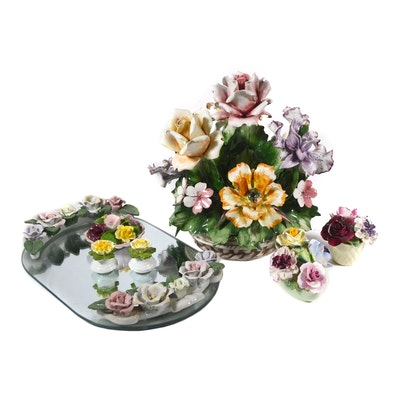 Capodimonte Porcelain Floral Arrangement and Other Porcelain Floral Figures