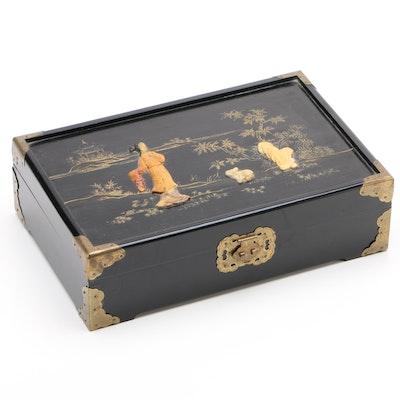 East Asian Ebonized Jewelry Box with Carved Soapstone Embellishments