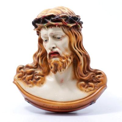 "Chalkware Jesus Christ ""Ecce Homo"" Chapel Icon, Mid-Century"