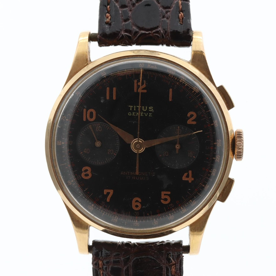 Vintage Titus 18K Yellow Gold Chronograph Wristwatch
