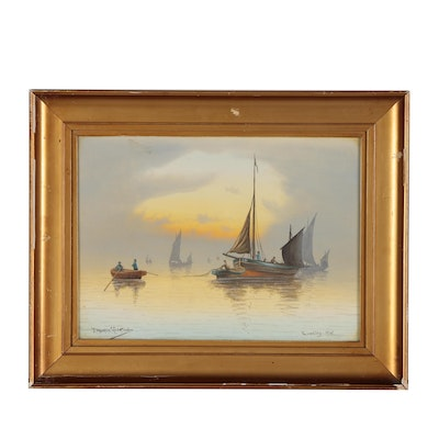 "J. Maurice Hosking Nautical Watercolor Painting ""Evening Mist"""