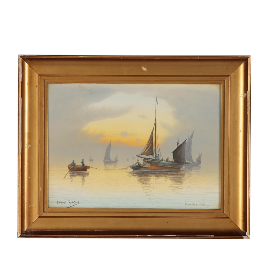 """J. Maurice Hosking Nautical Watercolor Painting """"Evening Mist"""""""