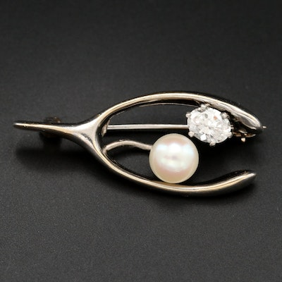 14K Gold Diamond and Cultured Pearl Wishbone Brooch