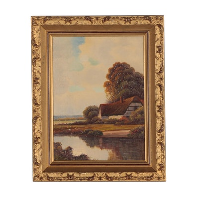 Augustus Spencer Oil Painting of Landscape with Cottage