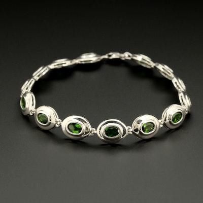 Sterling Silver Diopside Bracelet