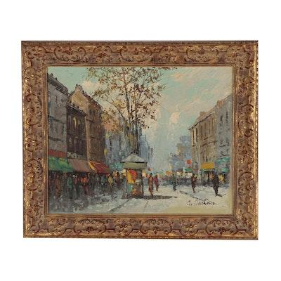 European Street Scene Impasto Oil Painting