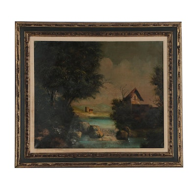 English School Style Pastoral Landscape Oil Painting