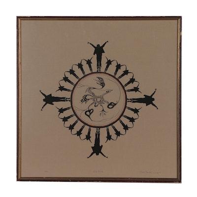 "Richard Stocker Serigraph ""Four Skies"", 1977"
