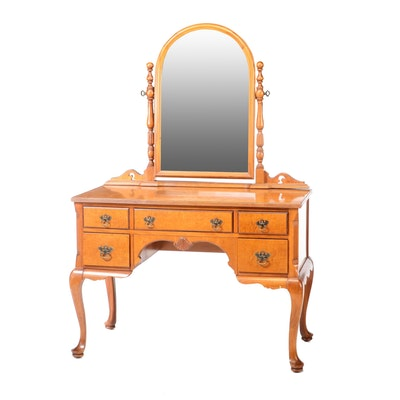 Colonial Style Continental Furniture Curly Maple Vanity, Mid-20th Century