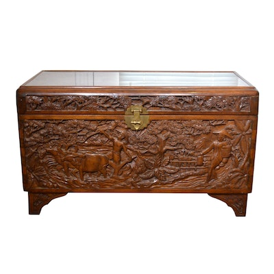 Vietnamese Heavily Carved Mahogany Tabletop Chest, Mid to Late 20th Century