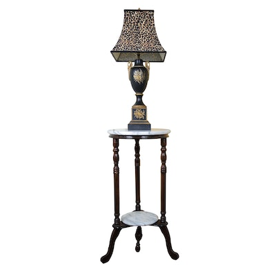 Victorian Style Marble Top Plant Stand and Ceramic Table Lamp