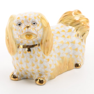 "Herend Butterscotch Fishnet with Gold ""Pekingese"" Porcelain Figurine"