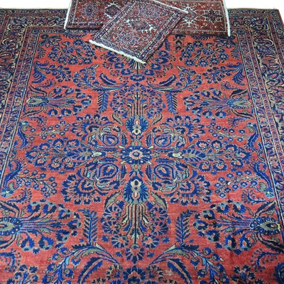 12' x 9'  Handmade Sarouk Wool Area Rug and Accent Rugs
