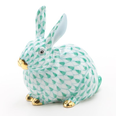 "Herend Guild Green Fishnet with Gold ""Chubby Bunny"" Porcelain Figurine, 2006"
