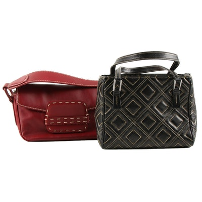 Bruno Magli and Suarez Contrast Stitch Leather Demi Handbags
