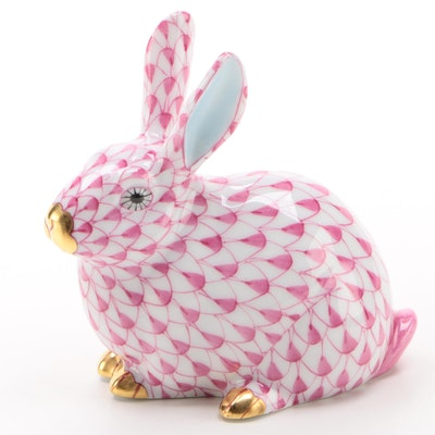 "Herend Guild Raspberry Fishnet with Gold ""Chubby Bunny"" Porcelain Figurine, 2006"