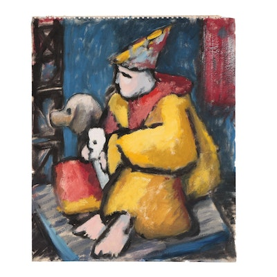 W. Glen Davis Oil Painting of Clown and Dog