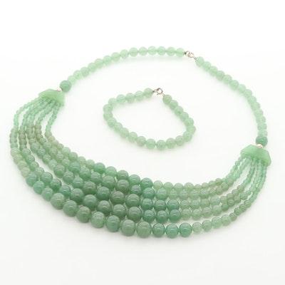 Sterling Silver Aventurine Graduated Multi-Strand Beaded Necklace and Bracelet