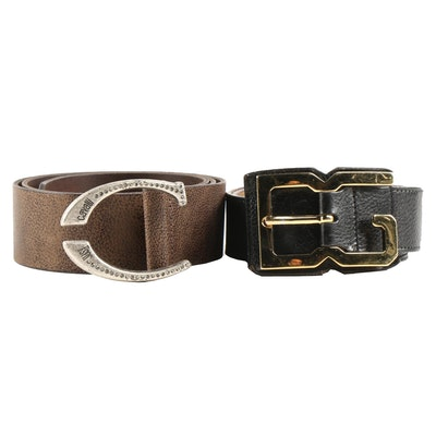 Dolce & Gabbana Black and Just Cavalli by Roberto Cavalli Brown Leather Belts