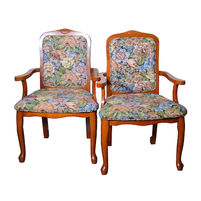 Transitional Cherry Tapestry Style Upholstered Armchairs, Late 20th Century