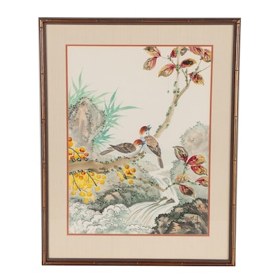 Harlan Lam Gouache Painting of Birds and Landscape