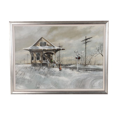 Robert Fabe Winter Landscape Acrylic Painting