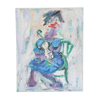 Charles Nivens Abstract Figure Acrylic Painting
