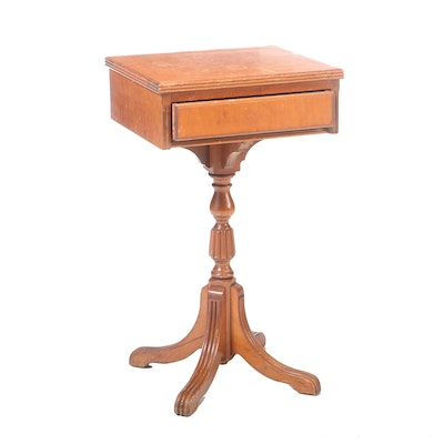 Continental Furniture Curley Maple Table, Mid 20th Century