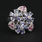 Sterling Silver Ruby and Tanzanite Flower Ring