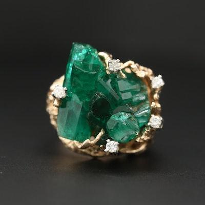 14K Yellow Gold Emerald and Diamond Biomorphic Ring