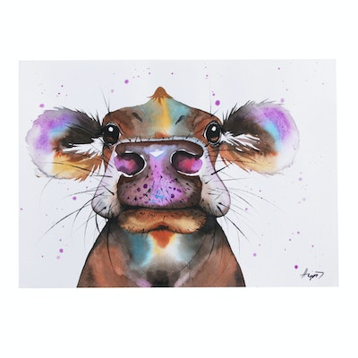 Anne Gorywine Watercolor Painting of a Cow