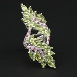 Sterling Silver Peridot and Ruby Foliate Bypass Ring