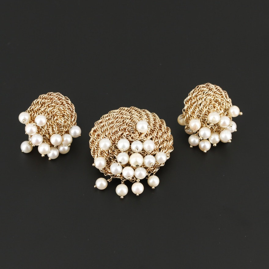14K Yellow Gold Cultured Pearl Earrings and Converter Brooch