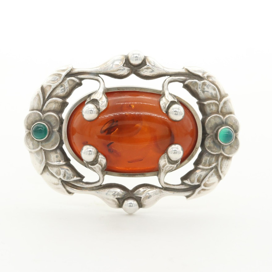 Georg Jensen Sterling Silver Amber and Green Chalcedony Brooch