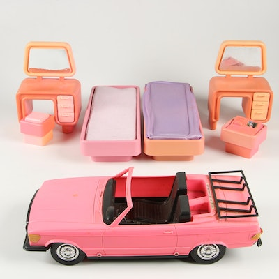 "Vintage Barbie ""Dream House"" Furniture and Meritus Doll Car"