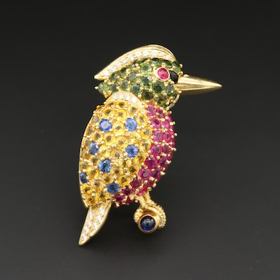 18K Yellow Gold Ruby, Sapphire, Diamond and Black Onyx King Fisher Brooch