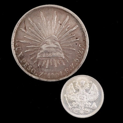 Two Antique Foreign Silver Coins From Mexico and Russia