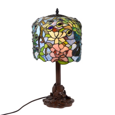Art Nouveau Style Stained Glass Peacock Table Lamp, Contemporary