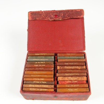"Knickerbocker Leather Miniature ""Shakespeare's Works"" in Leather Box"