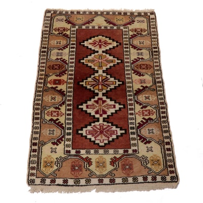 3' x 4'10 Hand-Knotted Turkish Caucasian Wool Rug, 1970s