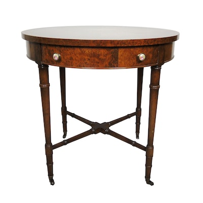 Regency Style Mahogany and Burlwood Side Table, Second Half 20th Century