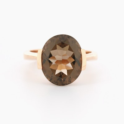 King's Jewelry 14K Rose Gold Smoky Quartz Ring