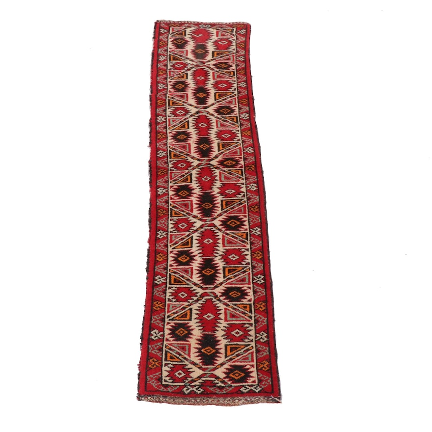 1'3 x 5'1 Hand-Knotted Persian Kurdish Wool Runner, 1940s