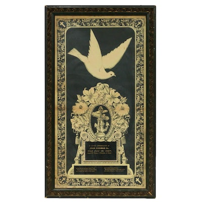 Victorian Memorial Chromolithograph and Ornamental Frame
