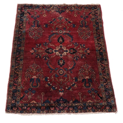 3'6 x 4'6 Hand-Knotted Persian Lilihan Rug, 1920s