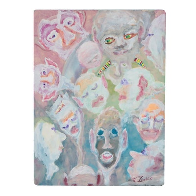 Kathleen Zimbicki Gouache Painting of Faces