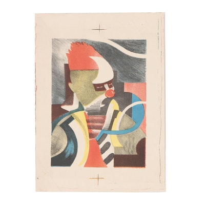 """Arthur Helwig Abstract Color Lithograph """"Clown"""""""