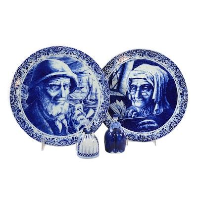 """Golden Crown E&R """"Boch La Souviere"""" Porcelain Collector Plates and Bells"""