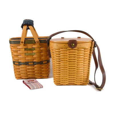Longaberger Saddlebrook Basket Purse and Collectors Club Basket with Note Pad