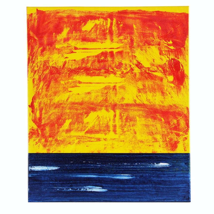 "deSanto Acrylic Painting of Seascape ""Crimson 13"""